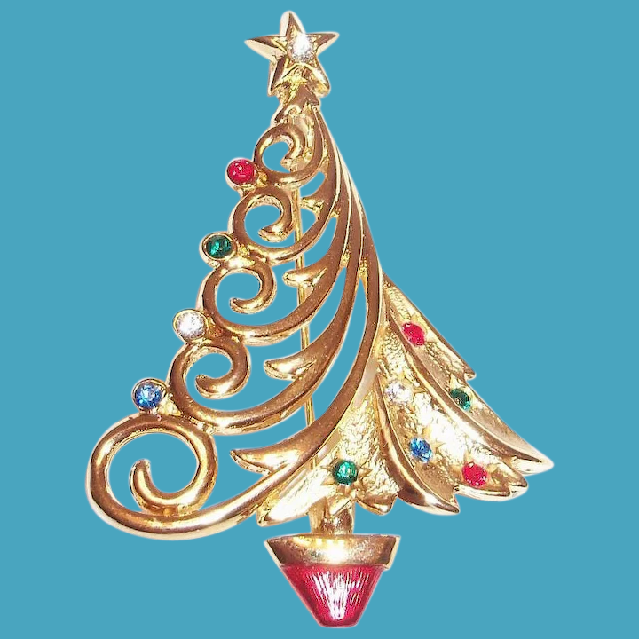8339e3107 JJ Gold Tone Christmas Tree Pin With Glass Rhinestones : The Antique  Chasers | Ruby Lane