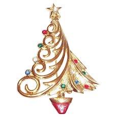 JJ Gold Tone Christmas Tree Pin With Glass Rhinestones