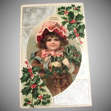 A Happy Christmas Postcard (Little Girl With Pink Bonnet & Holly)