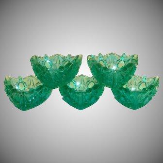 Emerald Green Pressed Glass &Triangle Shaped Salt Cellar