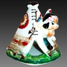 1950's Porcelain Native American Indian & Teepee Ashtray