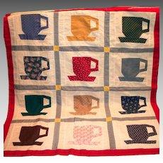 Darling Handmade Small Teacup Coverlet/Wall Hanger
