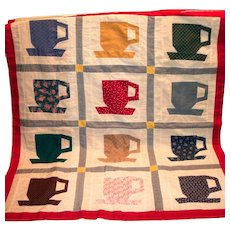 Darling Handmade Small Teacup Coverlet/Wall Hanger