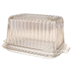 Clear Glass Ribbed Design 1 Lb Size 2 Piece Butter Dish
