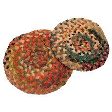 Two Chenille Braided Seat or Stool Pads