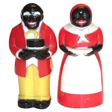 F&F Aunt Jemima & Uncle Mose Black Americana Plastic Salt & Pepper Set