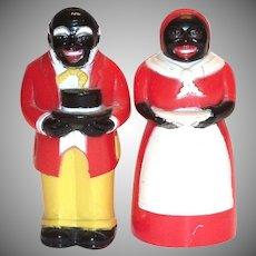 F&F Aunt Jemima & Uncle Mose Black Americana Plastic Salt & Pepper Set