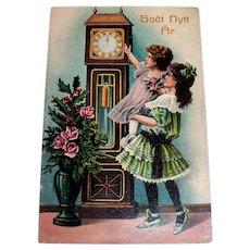 "German New Year's ""Godt Nytt Ar Postcard (Children looking at clock)"