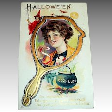 LSC: Hallowe'en, Good Luck Postcard (Lady In Hand Mirror)