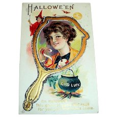 LSC: Hallowe'en, Good Luck Postcard (Lady In Hand Mirror)