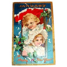 Tuck: January, A Happy New Year Postcard (Two Darling Little Girls)