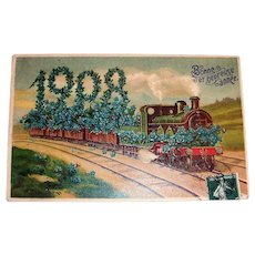 French 1908 New Years Postcard (Train with Flowers)