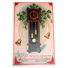 May Time Deal Gently With You Dear, New Year's Postcard (Grandfather Clock & Holly)