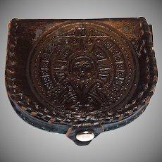 Black Leather Horseshoe Shaped Coin Purse