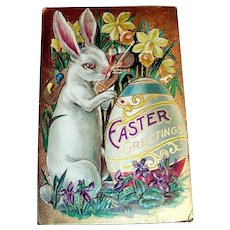 Easter Greetings Postcard (White Rabbit Painting Large Egg)