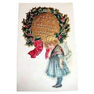 A Merry Xmas, One And All Postcard (Shy Girl Standing By Wreath)