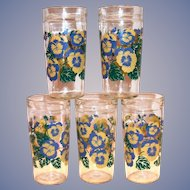 "Anchor Hocking ""Pansies"" Design Peanut Butter Glass"
