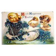 Much Happiness For Easter Postcard (Chicks on Teeter Totter)