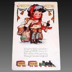 Whitney: Christmas Greeting Postcard (Boy With Bag Of Toys)