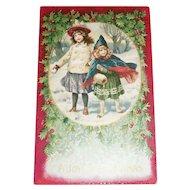 A Joyful Christmas Postcard (Two Little Girls Walking in the Snow)