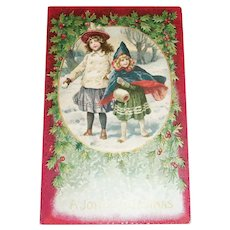 A Joyful Christmas Postcard (Two Little Girls Walking in the Snow)