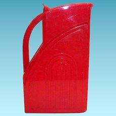 Vintage 1950's Red Plastic Pitcher