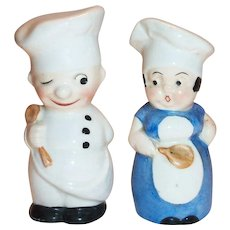 Hand Painted Porcelain Chefs Salt & Pepper Shakers - Germany