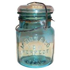 McDonald New Perfect Seal Blue Glass Mason Jar With Glass Lid & Bale