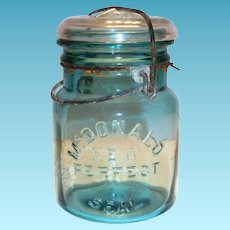 McDonald New Perfect Seal Blue Glass Mason Jar With Glass Lid & Bale