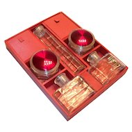 Traveling/Vanity Top Glass Containers & Divided Red Wooden Box/Tray