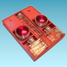 Traveling/Vanity Top Glass Containers & Divided Red Wooden Box