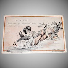 Charlie Chaplain: Safety First Postcard - 1916