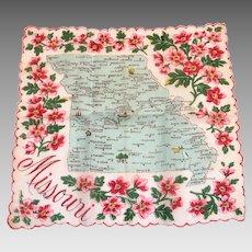 Vintage Missouri State Souvenir Handkerchief