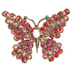 Hollycraft Pink Rhinestone Butterfly Pin
