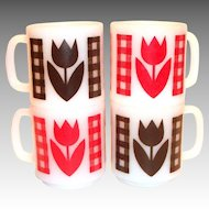 Glasbake Gingham Plaid & Tulip Pattern Coffee Mug