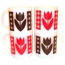 Glasbake Gingham Plaid & Tulip Pattern Coffee Mug