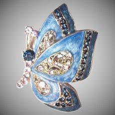 RMN:  Blue Enamel & Rhinestone Butterfly Pin