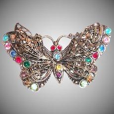 Czechoslovakia Rhinestone Butterfly Pin