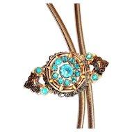 Coro Gold Tone Snake & Rhinestone Pin Necklace