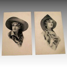 Vintage Black & White Victorian Style Schlesinger Bros. Cowgirls Postcards