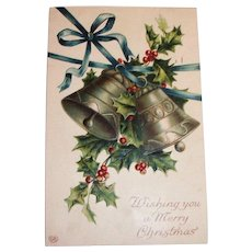 EAS: Wishing You A Merry Christmas Embossed Postcard (Silver Bells & Holly)
