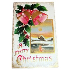 A Merry Christmas Postcard (Pink & Gold Tone Bells)