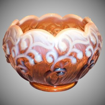 Fenton Lily of the Valley Amber Opalescent Nappy