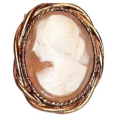 Gold Tone Framed Glass Cameo Pin