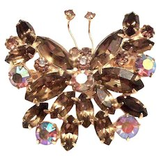 Two-Tone Colored Amber & Borealis Rhinestones & Marquis Butterfly Pin