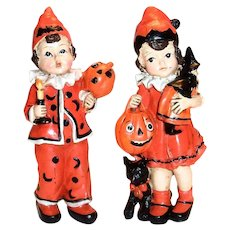 Hand Painted Ceramic Halloween Boy & Girl Figurines