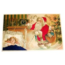 Merry Christmas Silk Postcard (Santa Magically Appears While Girl Sleeps)