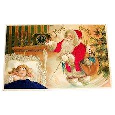 Merry Christmas Silk Postcard (Santa Magically Appears While Girl Sleeps)