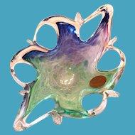 Murano Art Glassware Swirl Trim Bowl