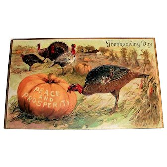 Tuck: Thanksgiving Day Postcard (Turkey Feasting)
